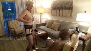 Horny GILF seduces big black guy