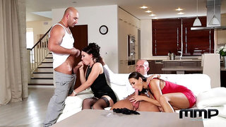 Group sex in home foursome with two MILFs thirsty for sperm