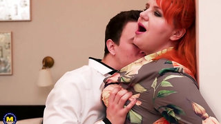 Plump redhead, Katrin Porto is spreading up wide and getting fucked the way she likes the most