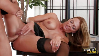 Busty Milf in Stockings Brenda James Gets A Mouthful Cumshot in The Office - big fake tits