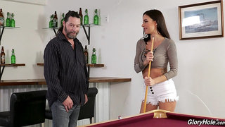 Adventurous sexy busty brunette Gia DiMarco works on strong glory hole BBC
