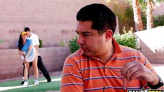 Gorgeous long-legged brunette Rachel Starr fucks with a golf player