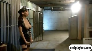Two pretty babes hot foursome session in the jail cell
