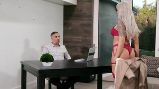 Classy blonde revenges on husband by seducing his assistant