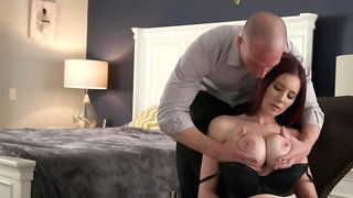 Submissive ginger is giving oral pleasure to her master