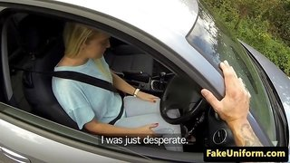 Pickedup UK babe facialized by lucky officer