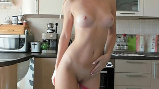 Blonde tight pussy babe solo fingering in glamour solo