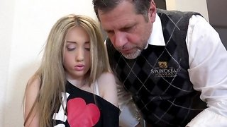 Vladlena takes good care of step dad's fat dick
