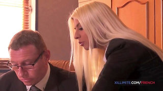 French Blond blow and screw her boss