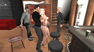 Blonde in Pantyhose does 3 Guys