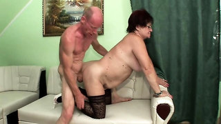 Luscious granny in stockings gets banged deep and facialized