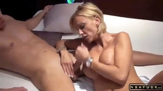 Busty blonde milf gets her pussy worked out by a stud