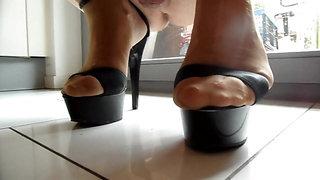 Heels ticktack - a worm's eye views my wife's heels