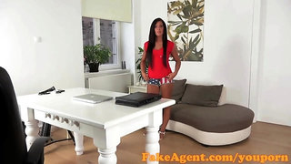 FakeAgent Hot tanned girl takes first time Creampie in Casting