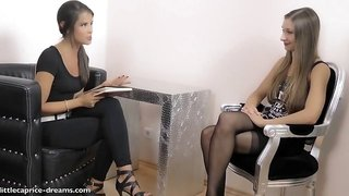 Cute lesbian kisses with incredible female casting agent