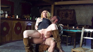 Misha Cross gives blowjob and gets fucked in the bar