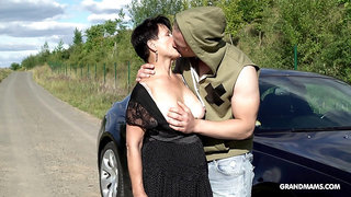 Country mature slut Marta gives a blowjob to handsome city boy