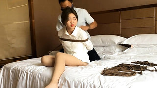 Bound bdsm fetish slave slut fucked by master