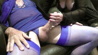 blue lingerie blowjob crossdresser