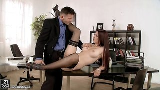 Impaling the pussy on his bulbous mushroom makes her so horny
