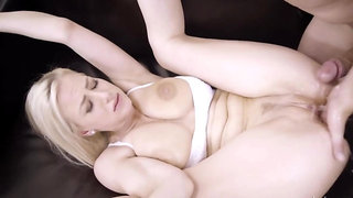 Blonde starlet with big tits Nathaly Cherie gets rammed at home