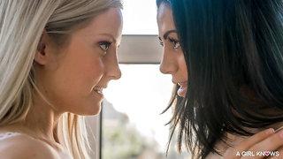 Hungarian Sicilia and Romanian Julia De Lucia make sweet lesbian love