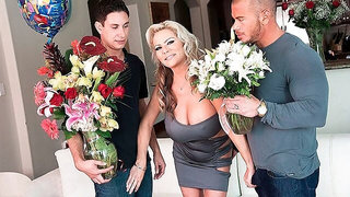 Two men are fucking with a stramy slutty doll Samantha Jay