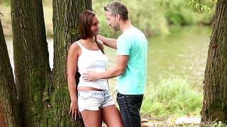 Wild outdoors fucking in the local forest with sexy Naomi Bennet