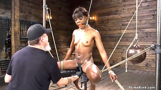 Tiny tits ebony drooling during torment
