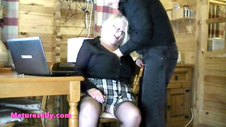 Big tits Sally tits groped in a Swiss chalet