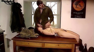 Soldier finds a tied up girl. upscaled to 4K