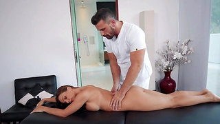 Abigail Mac sits on masseur's face during amazing massage sex