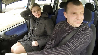 Good-looking curvy passenger fucks with a perverted driver