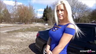 German Hitchhiker Teen Blanche Cheating Fuck in Car