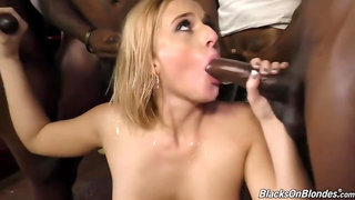 Kate England Blonde fucks in a bar with black men