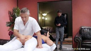 Masseur fucks man's wife so hard that she swallows his sperm