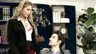 Mouth watering secretary Mercedes Carrera is making love with handsome boss