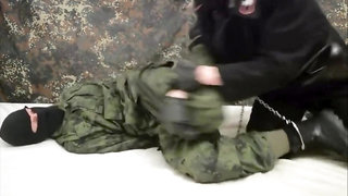 Tied up masked soldier and made him cumshot 1