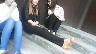 3 girls spitting AND smoking