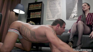 Big-Titted femdom boss pegging assistant