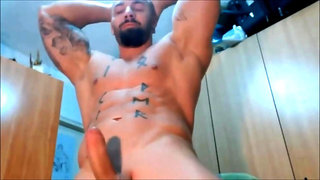 Strong Bodybuilder big cum shot