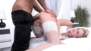 Bride puts the best man's dick to work her ass