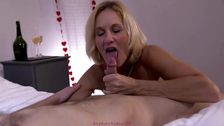 Experienced blonde mature, Molly Maracas sucks and rides a rock hard cock like a pro whore