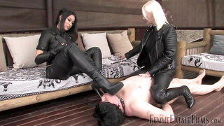 2 Mistress spitting and boot worship