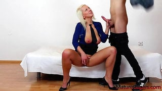 Czech blonde Milf gaping and fucking her Holes