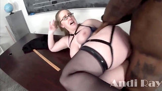 Nerdy light-haired bbw is having multiracial hookup with a stunning, dark-hued stud, in the classroom