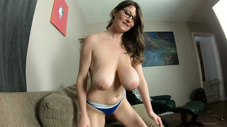 Busty grinding him with panties on