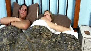 Mom loves her son in hotel room