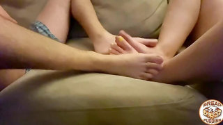 Cute Amateur Couple Play Feet Wrestling Cuddle