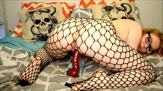 Amateurporn - Glove Fishnet Humping And Dildo Riding